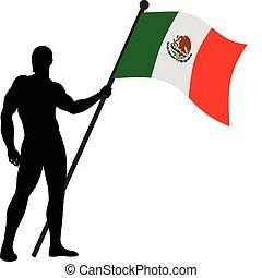 Flag Bearer_Mexico - Vector illustration of a flag bearer