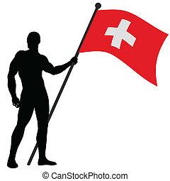 Flag Bearer_Switzerland - Vector illustration of a flag...