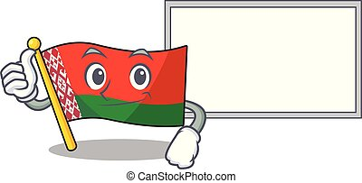 flag belarus in the cartoon shape thumbs up with board