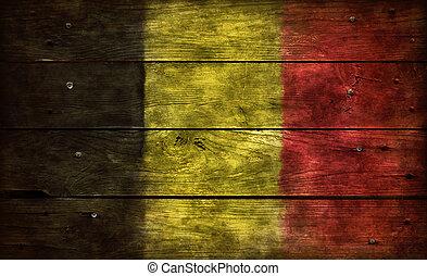 flag belgium on wood