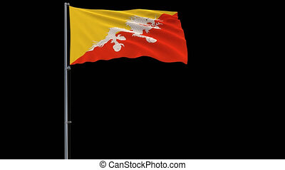 Flag Bhutan on transparent background, 4k prores 4444...