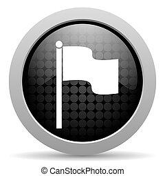 flag black circle web glossy icon