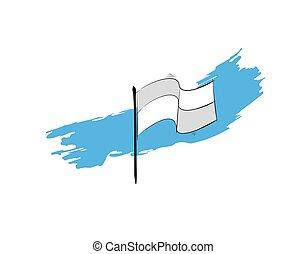 Flag blue brush on white background in vector illustration