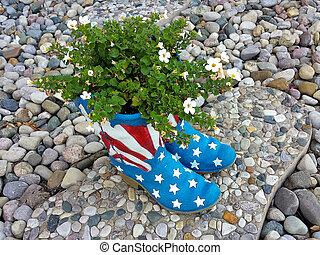 flag boot planter