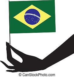 flag brasilien, hans, hånd