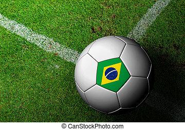 flag brasilien, mønster, i, en, soccer bold, ind, grønnes græs
