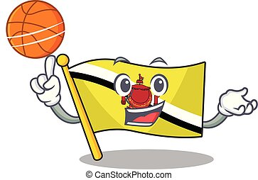 Flag Brunei Darussalam 4 - With basketball flag brunei...