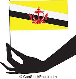 flag brunei, hans, hånd