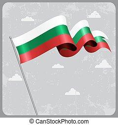 flag., bulgare, vecteur, ondulé, illustration.