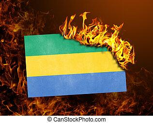 Flag burning - Gabon
