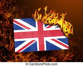 Flag burning - United Kingdom - Flag burning - concept of...