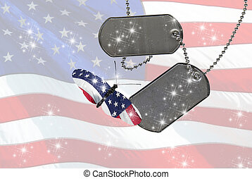 flag butterfly with dog tags