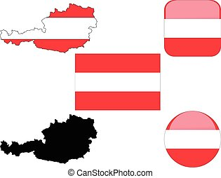 flag buttons map of austria