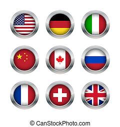 Flag buttons set 1