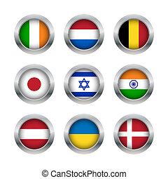 Flag buttons set 2 - Set of various flag buttons