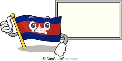 Flag cambodia cartoon with in thumbs up with board character