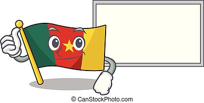 flag cameroon cartoon in character shape thumbs up with board