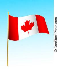 Flag - Canadian 2 - Digital illustration. Gradients, warp.