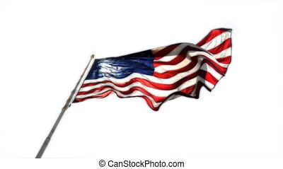 Flag Color Key - HD clip of the American flag wavering over...