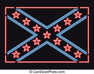 Flag Confederate States of America neon sign. Vector illustration