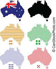 Australia - Flag, contour and pixel outline of Australia.