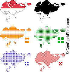Flag, contour and pixel outline of Singapore.