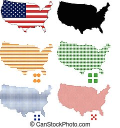 Flag, contour and pixel outline of United States.
