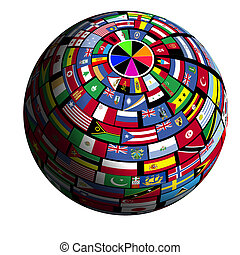 Flag-covered earth - Polar1 view - Flags of all nations...