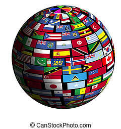 Earth surface is tiled over with flags of all nations