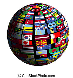 Flag-covered earth - Quad4 view - Flags of all nations cover...