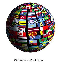 flag-covered, la terre, -, quad4, vue
