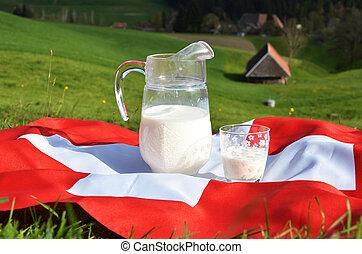flag., cruche lait, suisse, emmental, suisse