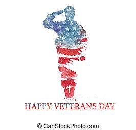 flag., day., アメリカ, 水彩画, vegterans, アメリカ, illustration.
