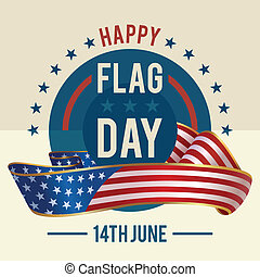 Flag Day of united states greeting card - 14th of June -...