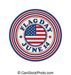 Flag Day celebration stamp over white background