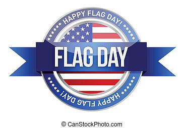 flag day. us seal and banner illust