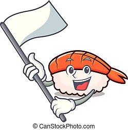 Flag ebi sushi mascot cartoon