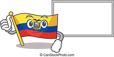 Flag ecuador cute cartoon character Thumbs up with board