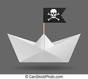 flag., elszigetelt, object., háttér., dolgozat, fehér, kalóz, csónakázik