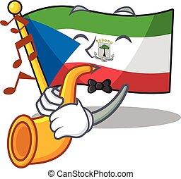 Flag equatorial guinea Scroll cartoon character design ...