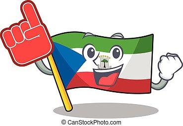 Flag equatorial guinea Scroll mascot cartoon style with Foam...