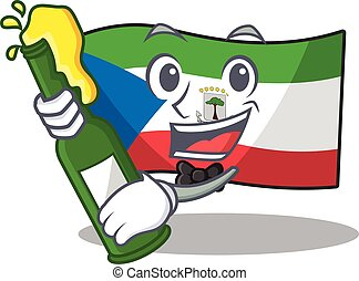 Flag equatorial guinea Scroll with bottle of beer mascot ...