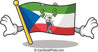 Flag equatorial guinea Scroll with Money eye cartoon ...