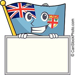flag fiji isolated in the grinning with board mascot