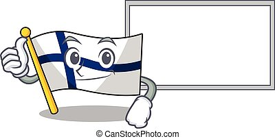 Flag finland cute cartoon character Thumbs up with board