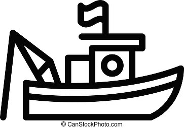 Flag fishing boat icon, outline style
