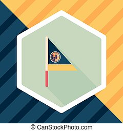 Flag flat icon with long shadow
