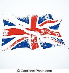 flag., fliegendes, grunge, vereinigtes königreich
