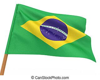 flag fluttering in the wind. Brazil. 3d