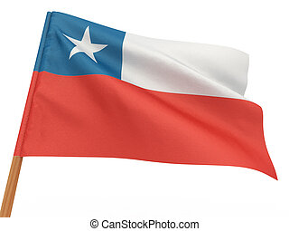 flag fluttering in the wind. Chili. 3d